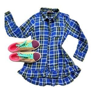 Flannel Plaid Dress Ruffled Tunic Blue Size M